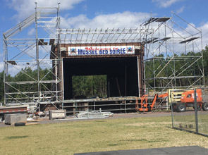 Multi bay scaffold set up for a Concert.