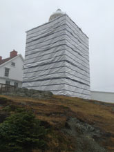 Scaffold enclosure at Twillingate Long Point Lighthouse.