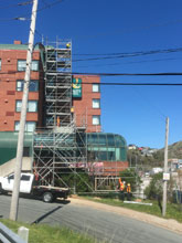 Scaffold towers downtown St John's.